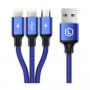 Кабель 3 в 1 Baseus MVP 3-in-1 Mobile game Cable USB For M+L+T 3.5A 120см (Blue) CAMLT-WZ03