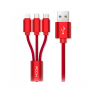 Кабель 3 в 1 Baseus MVP 3-in-1 Mobile game Cable USB For M+L+T 3.5A 120см (Red) CAMLT-WZ09